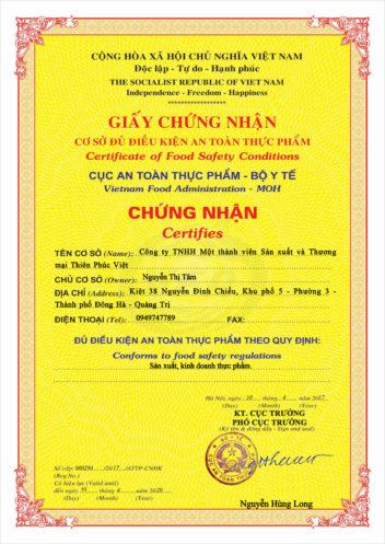 Các sản phẩm của Thiên Phúc Việt đã đạt được kiểm định chất lượng