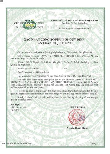 Cao hà thủ ô Thiên Phúc đã được cấp giấy chứng nhận của bộ y tế
